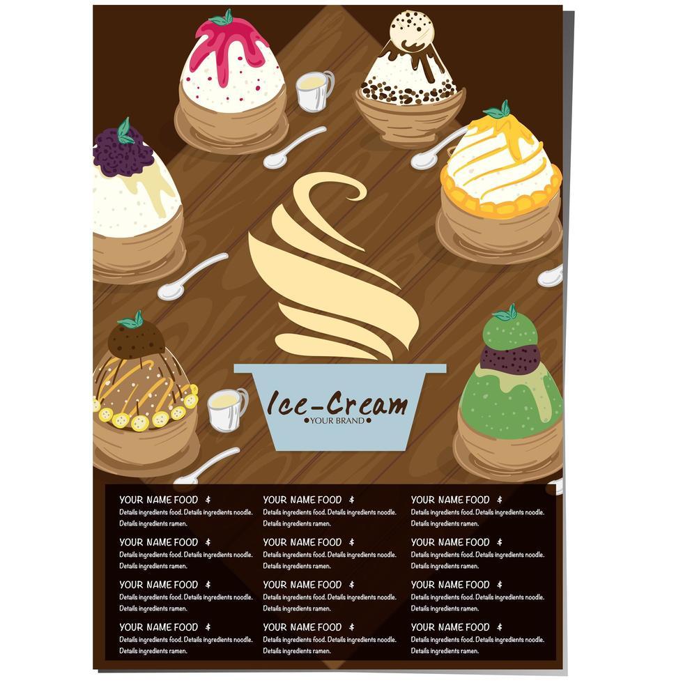 Restaurant menu template for ice cream vector