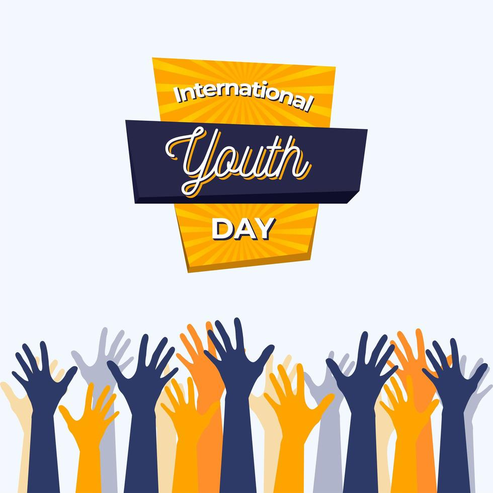 cartaz do dia internacional da juventude com mãos azuis e amarelas vetor