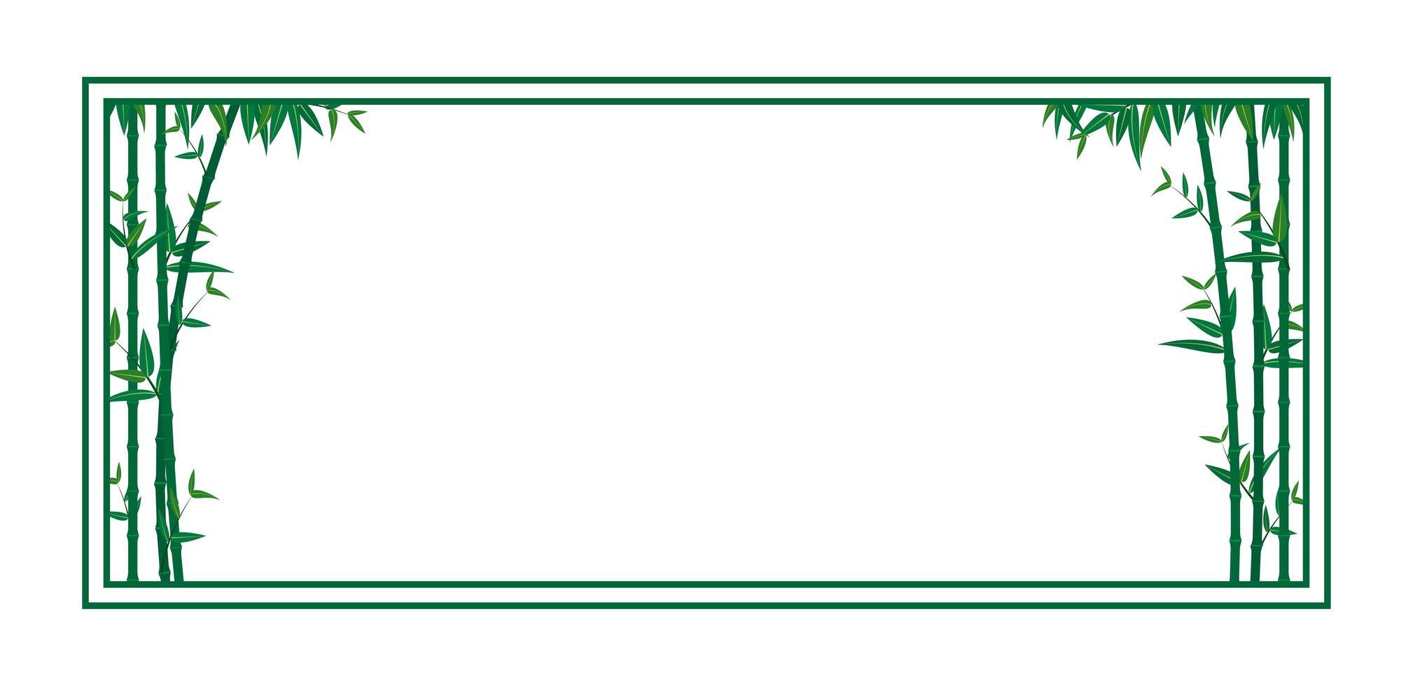 plantilla de marco de bambú verde vector