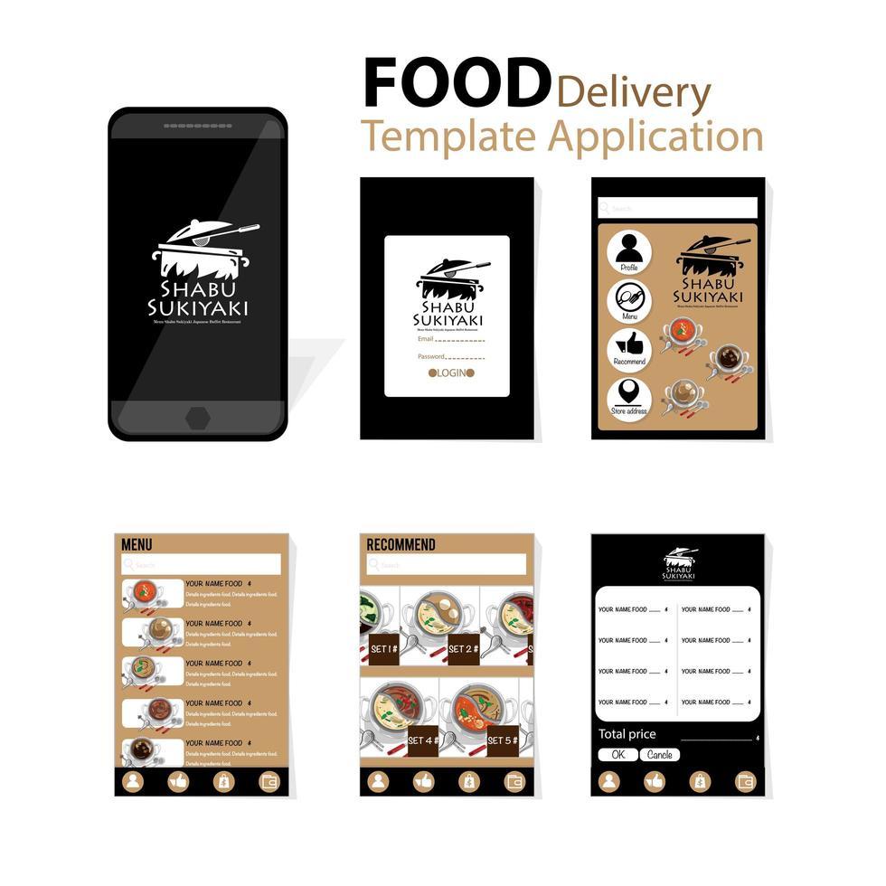 aplicação preto e marrom para entrega de comida japonesa vetor