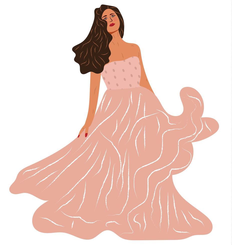 Portrait of Woman Wearing Pink Dress vector