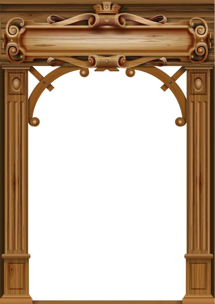 arco vintage clásico de madera vector