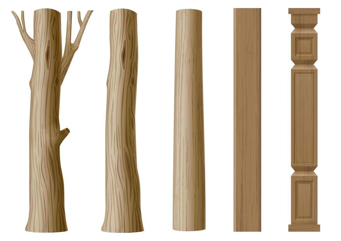 Set of pillars of wood in eco style vector