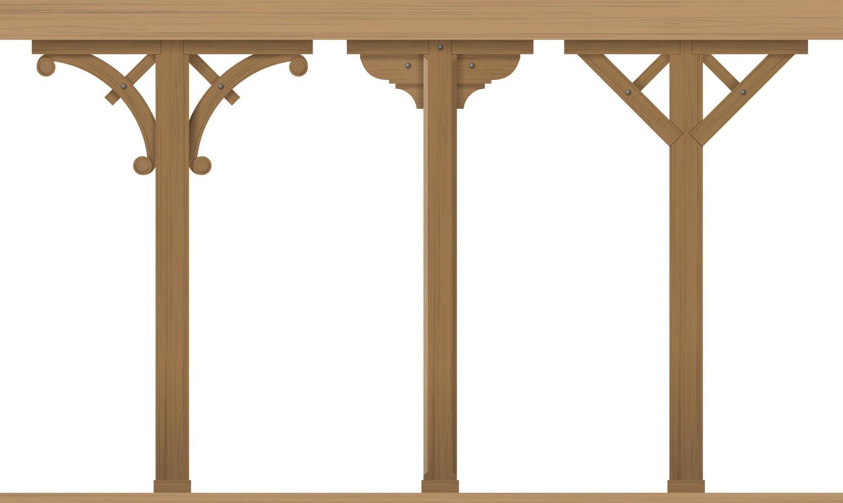 conjunto de columnas arquitectónicas de madera vintage vector