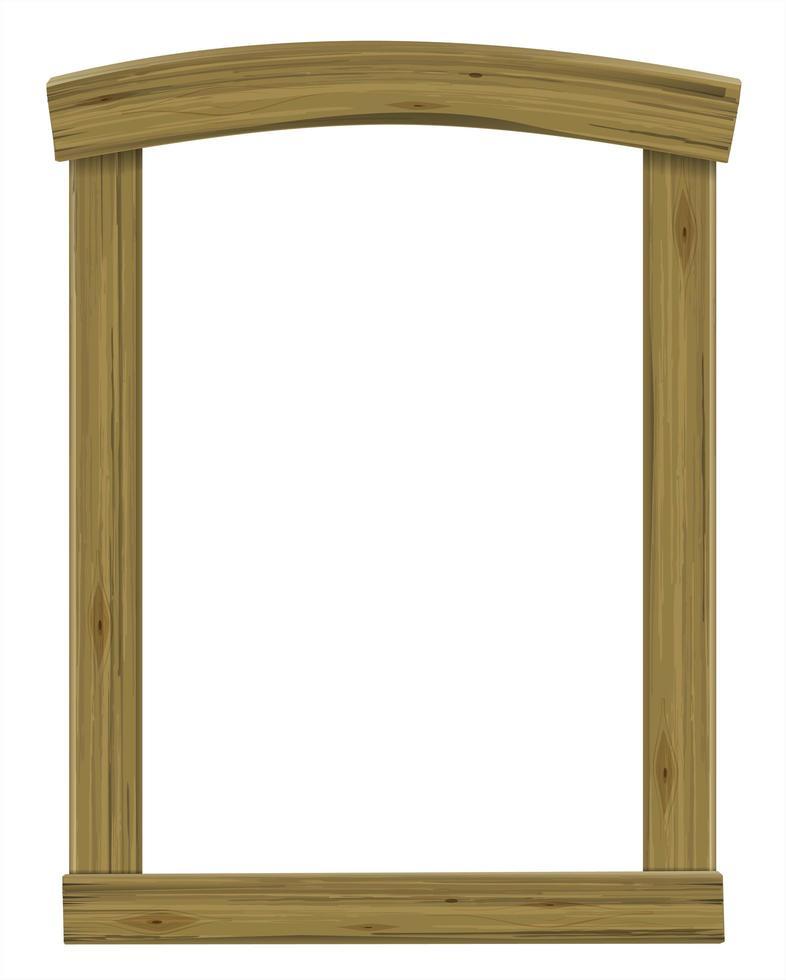 ventana de arco antiguo de madera o marco de puerta vector