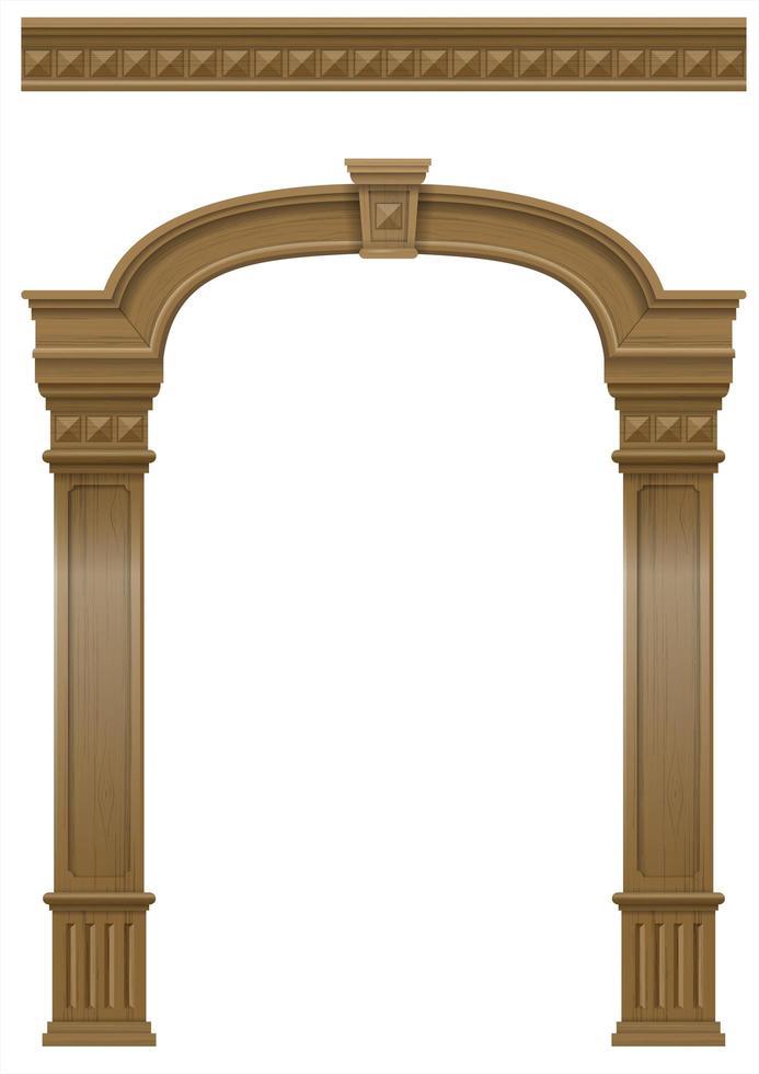Wooden classic vintage arch portal door vector