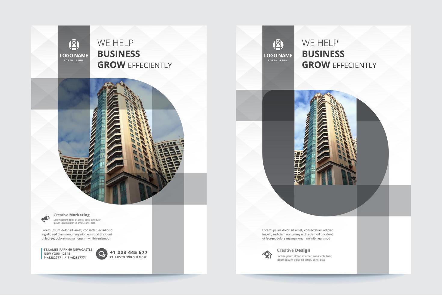modelo de folheto de negócios cinza e branco vetor