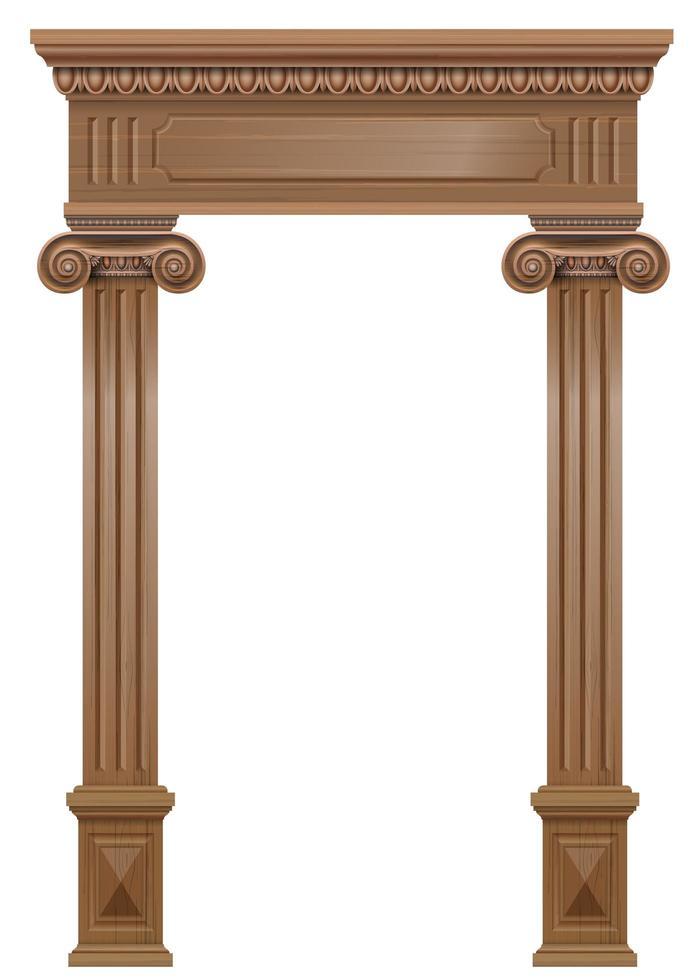 Wooden classic vintage portal door vector