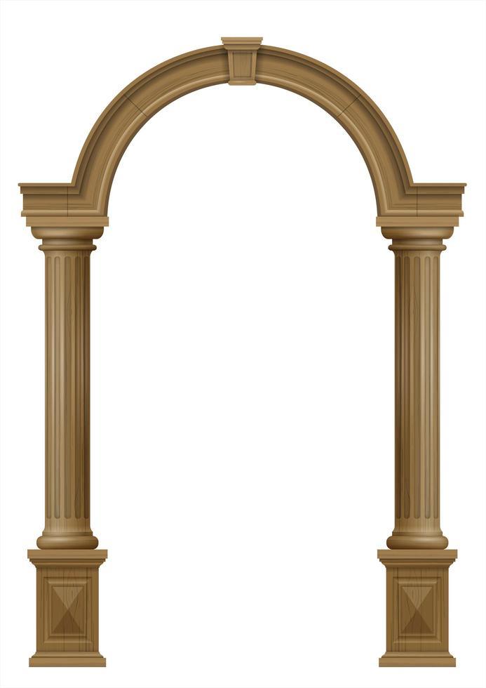 porta de portal de madeira com colunas vetor