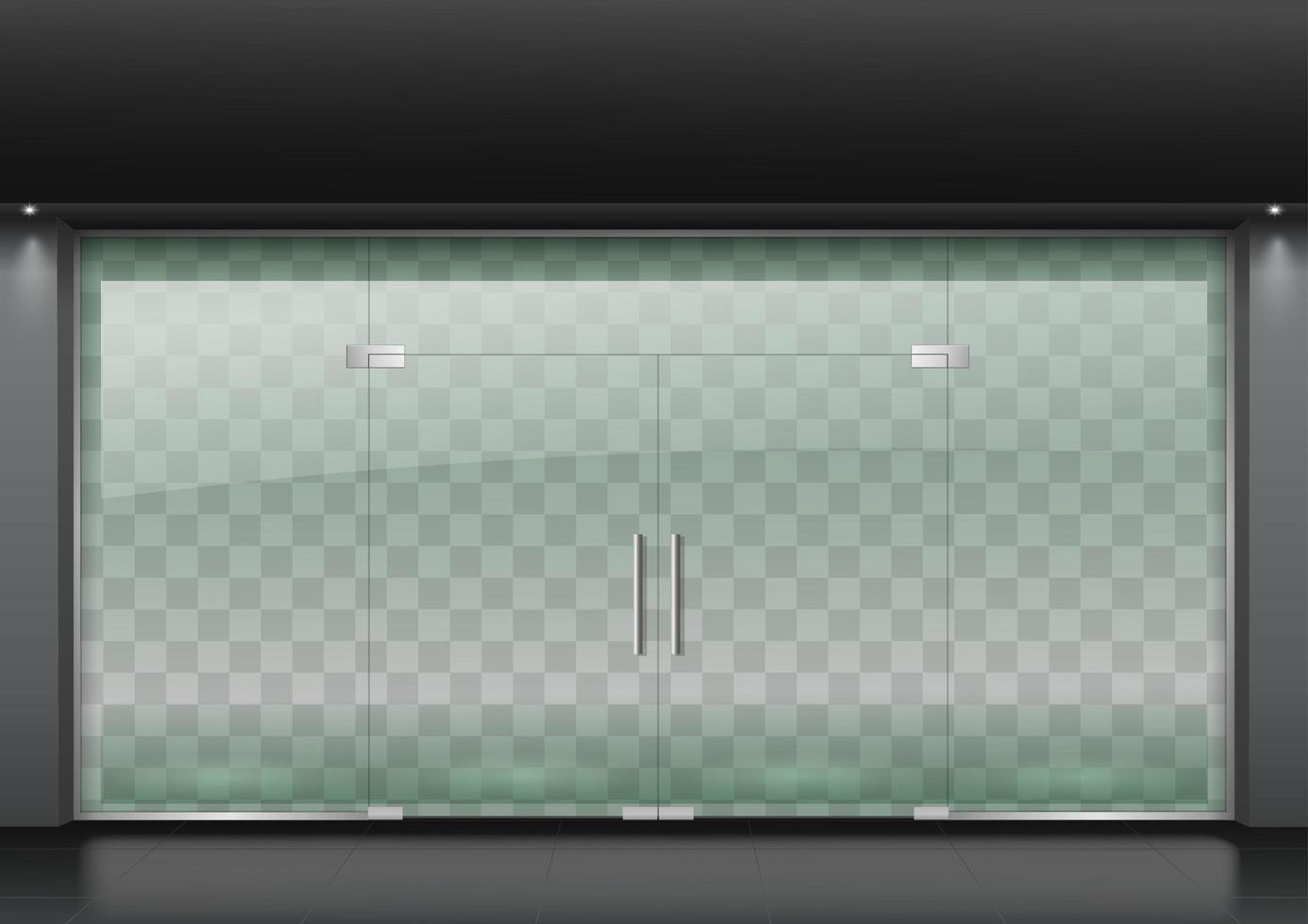 Glass door facade for shopping center vector
