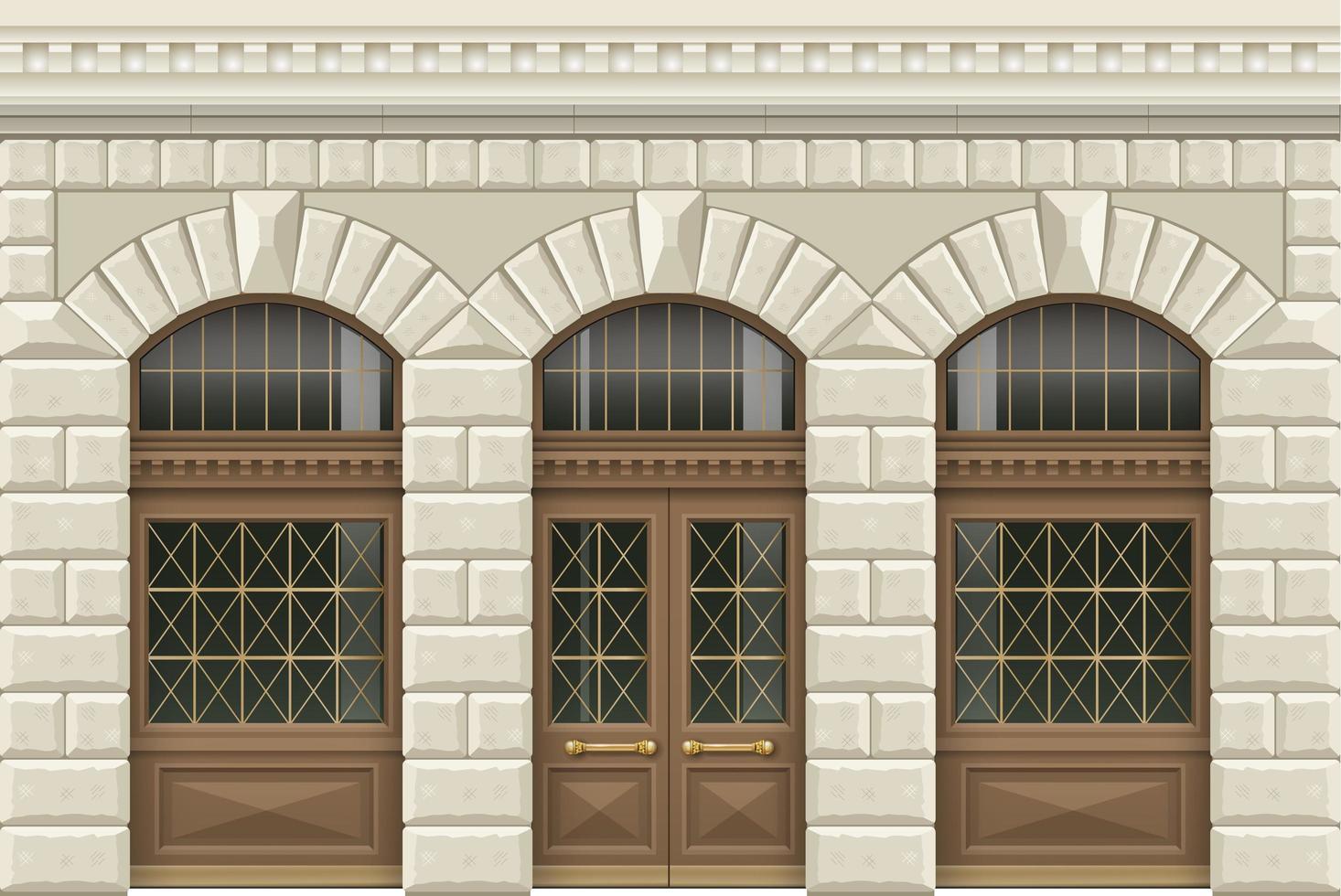 fachada clássica em estilo retro vetor