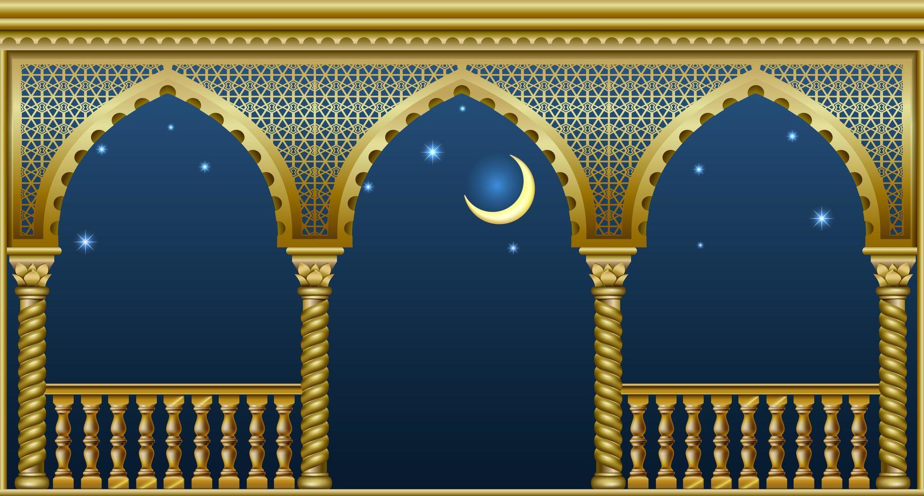 varanda dourada de um fabuloso palácio vetor
