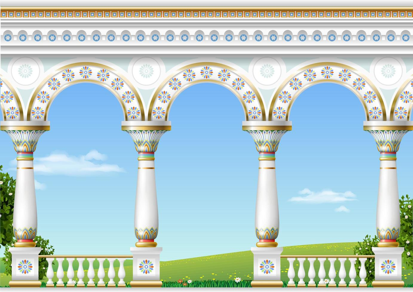 Balcony of a fabulous palace in eastern classical style vector