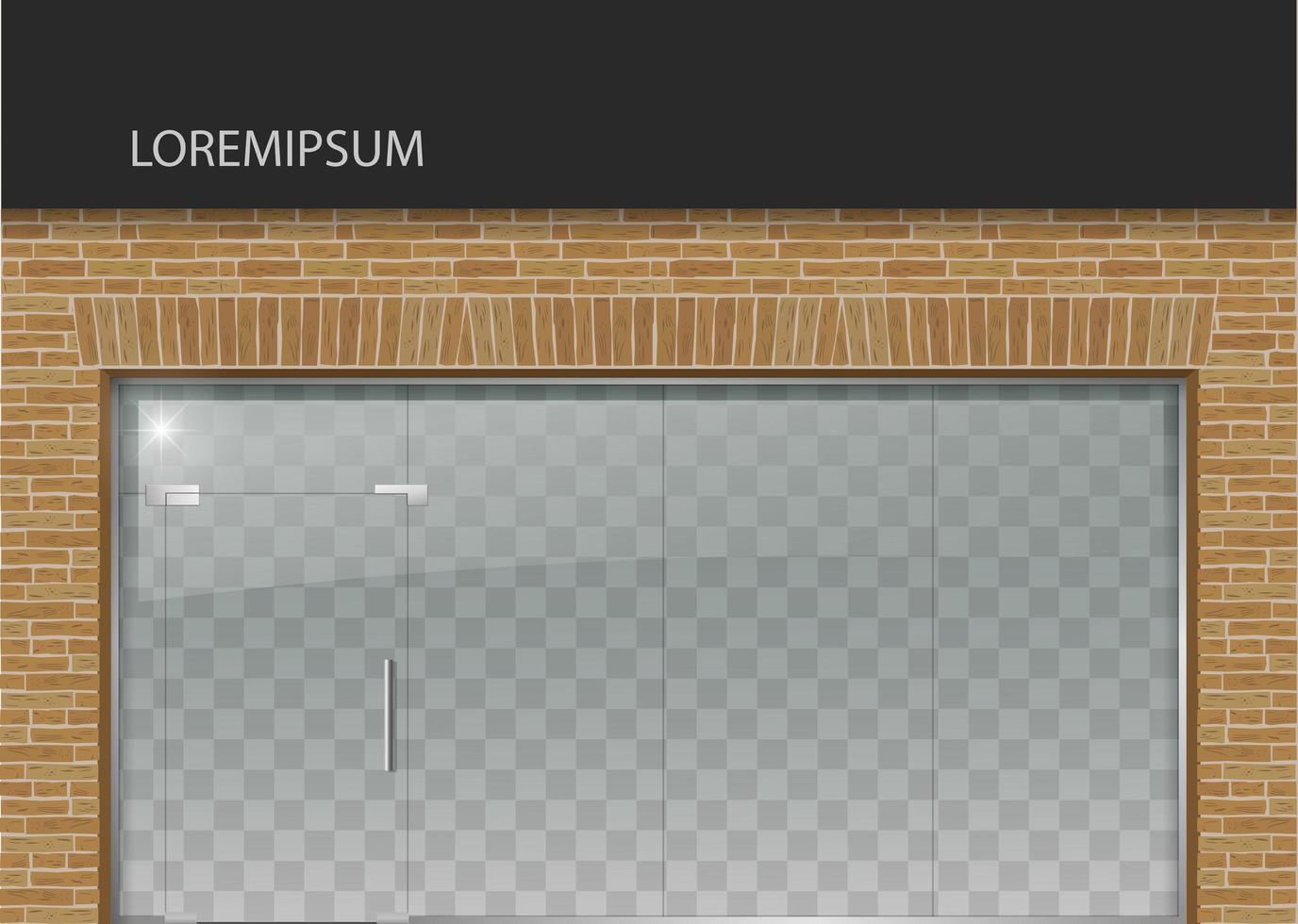 Loft style facade with glass door vector