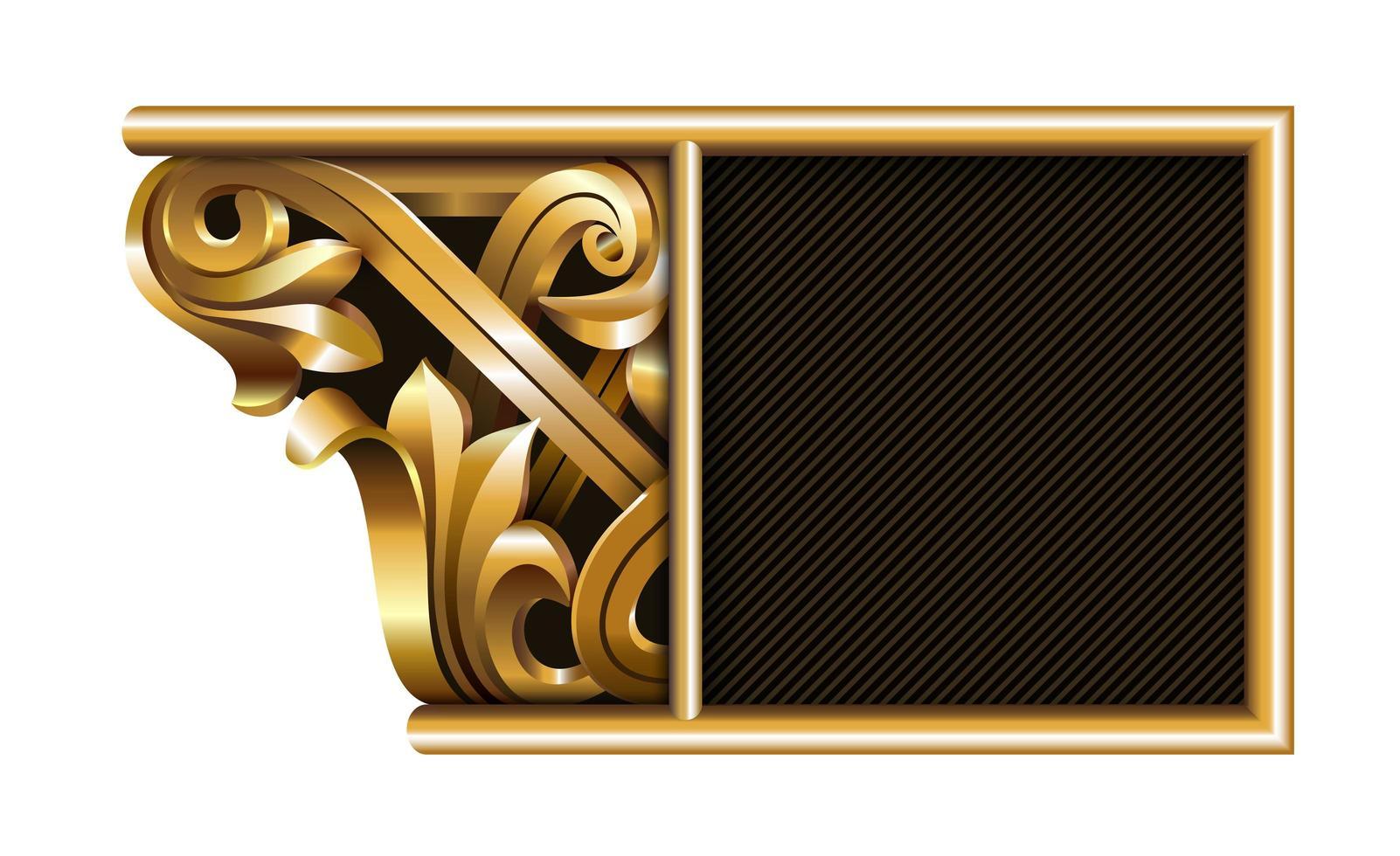 Gold carved column design vector