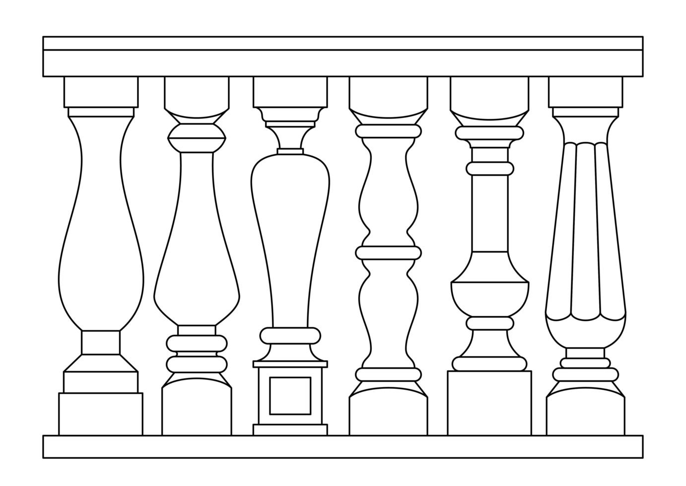Set of different classical balusters in outline style vector