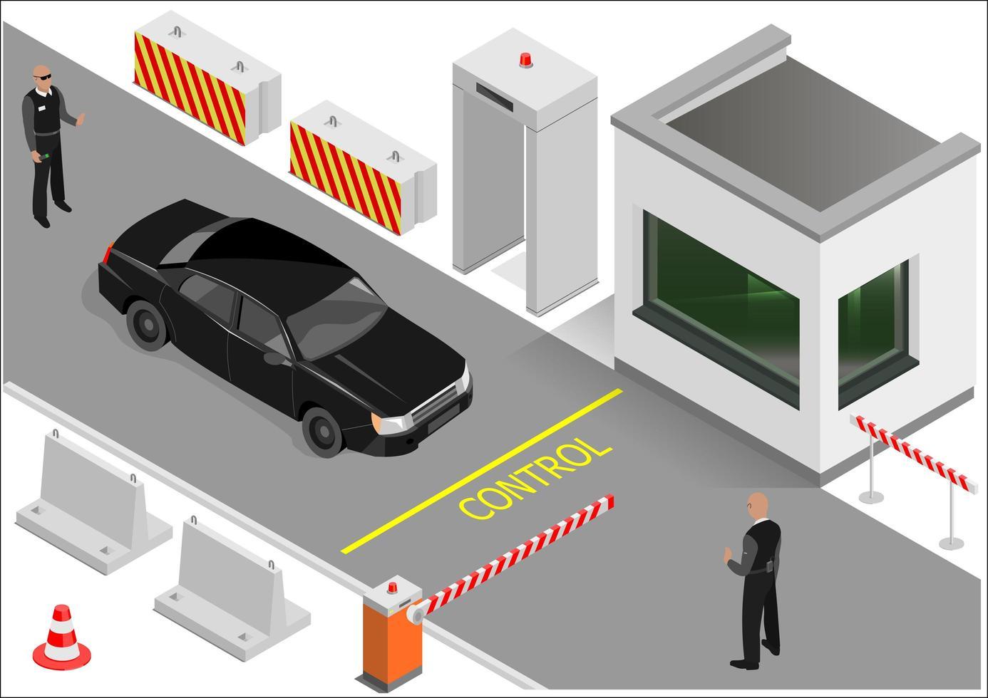 edificio de guardia isométrica o punto de aduana vector