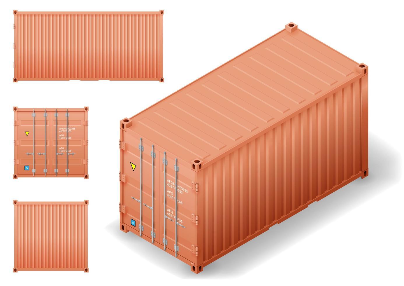 isometria do contêiner marítimo de transporte de carga vetor