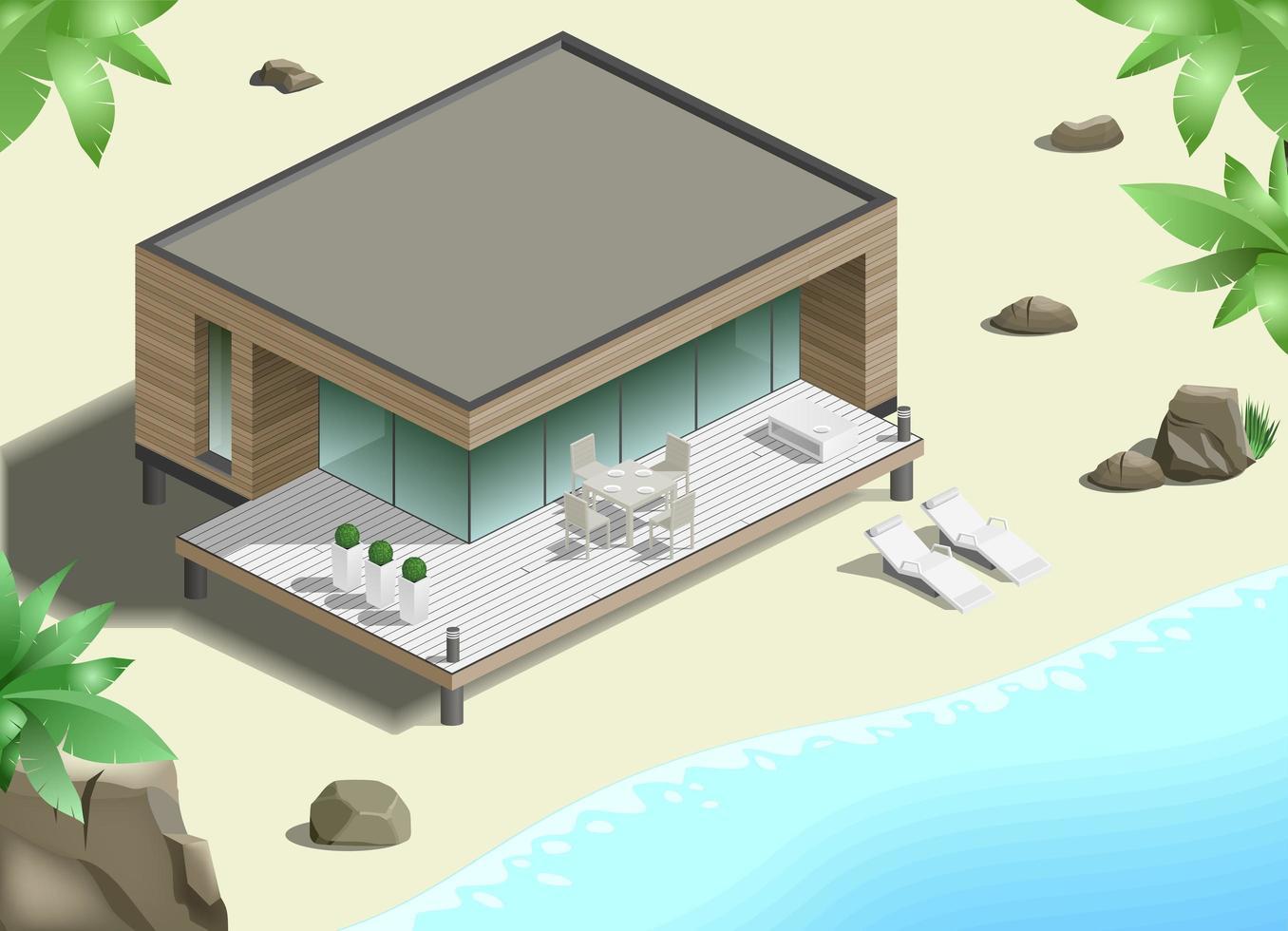 Modern bungalow on the ocean vector