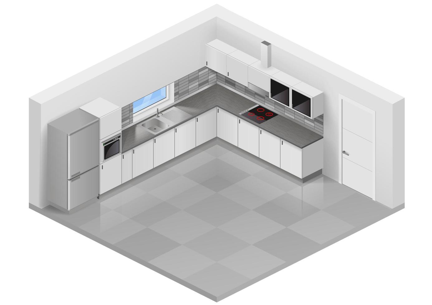 Modern white kitchen interior vector