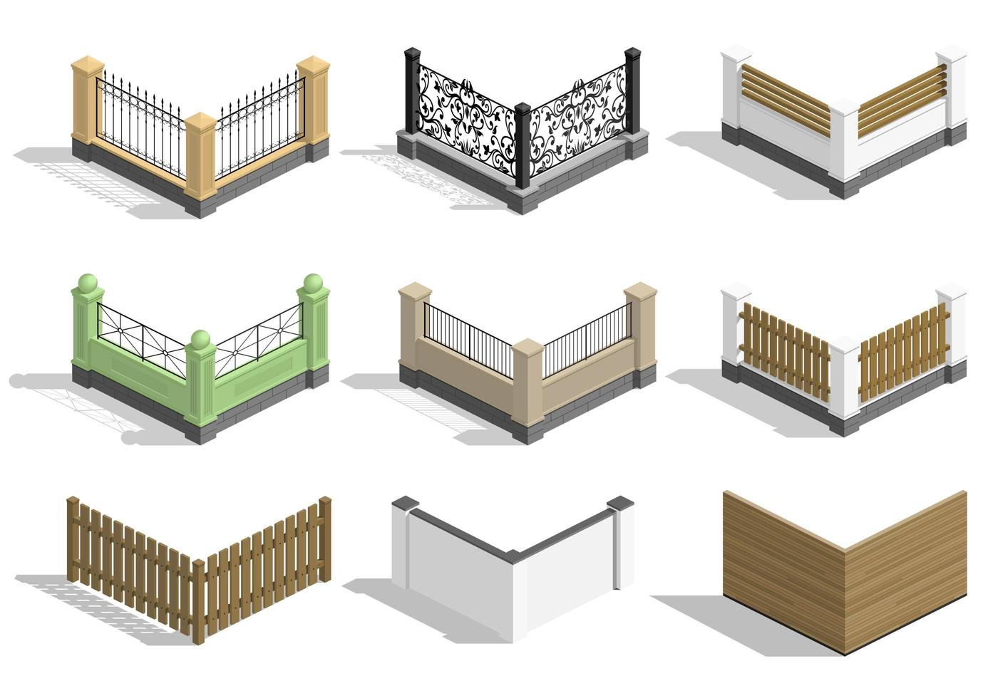 Set of different style sections of fence vector