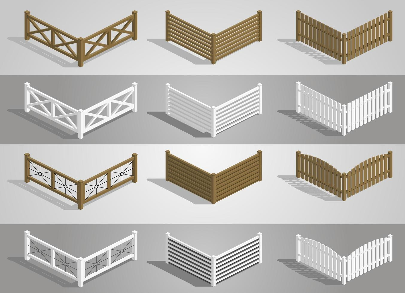 conjunto de diferentes secciones de valla de madera vector