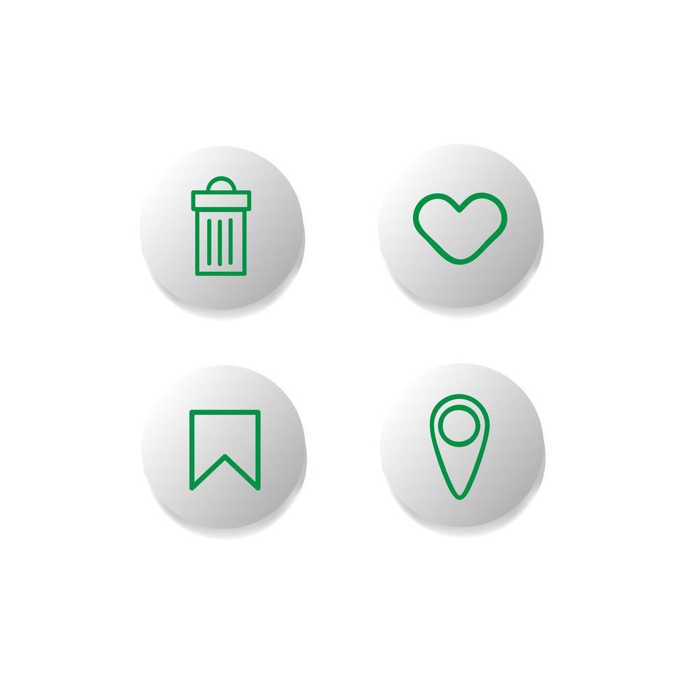 conjunto de botão de ícone de internet de interface de usuário vetor