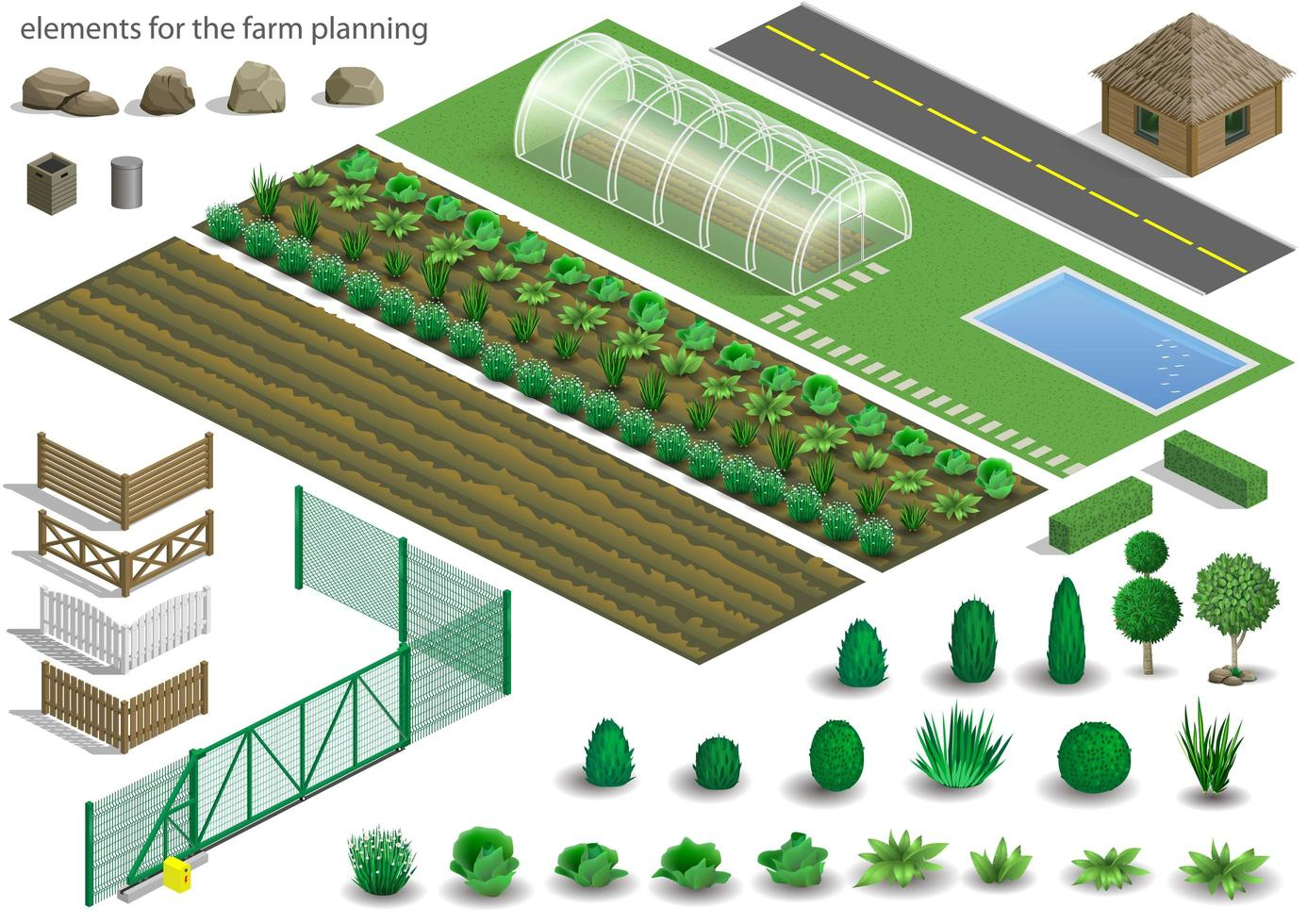 Set of elements for a farm vector