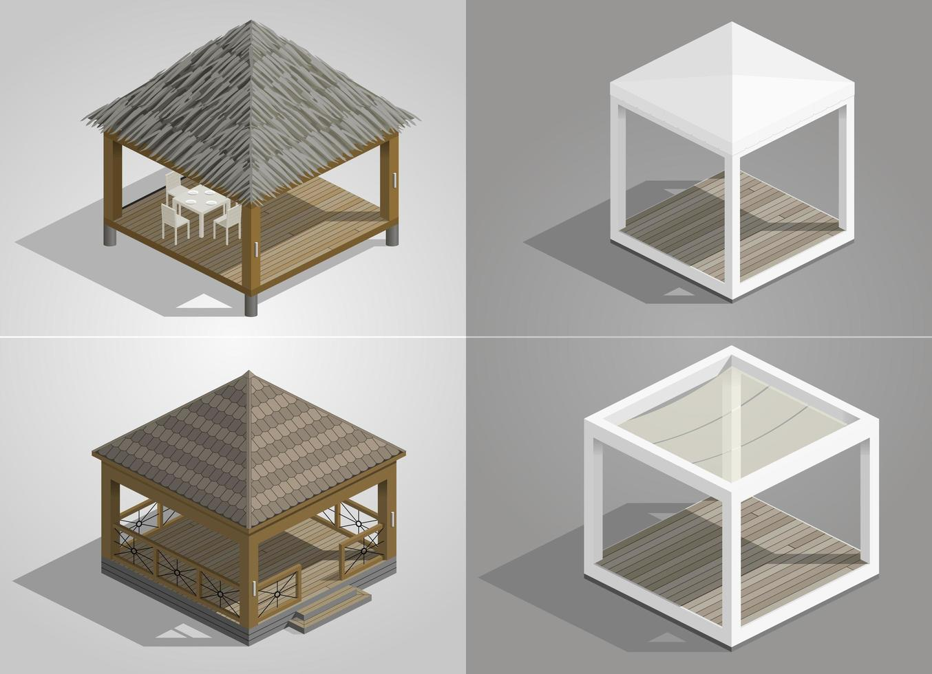 Set of four different pavilions for the park vector