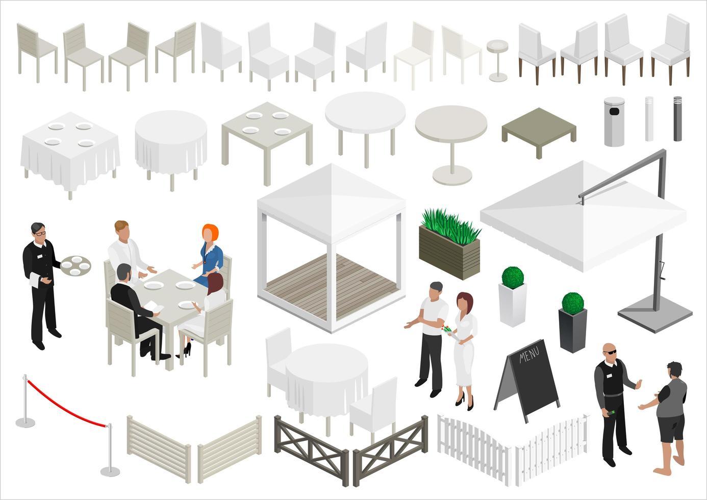 conjunto de personas y elementos de restaurante de isometría vector