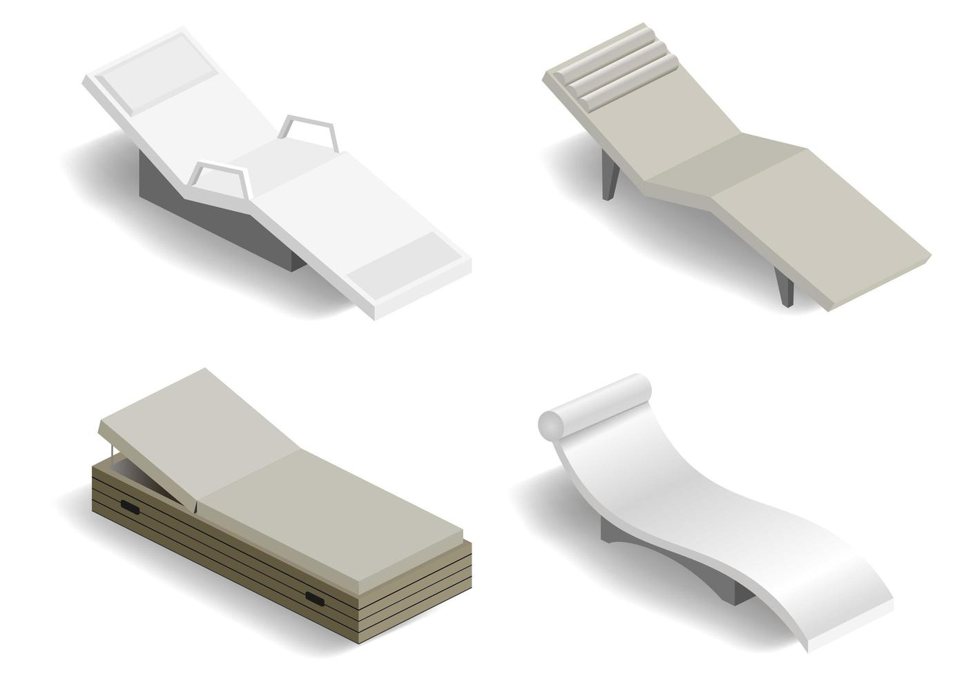 Set of modern loungers for spa or pool vector