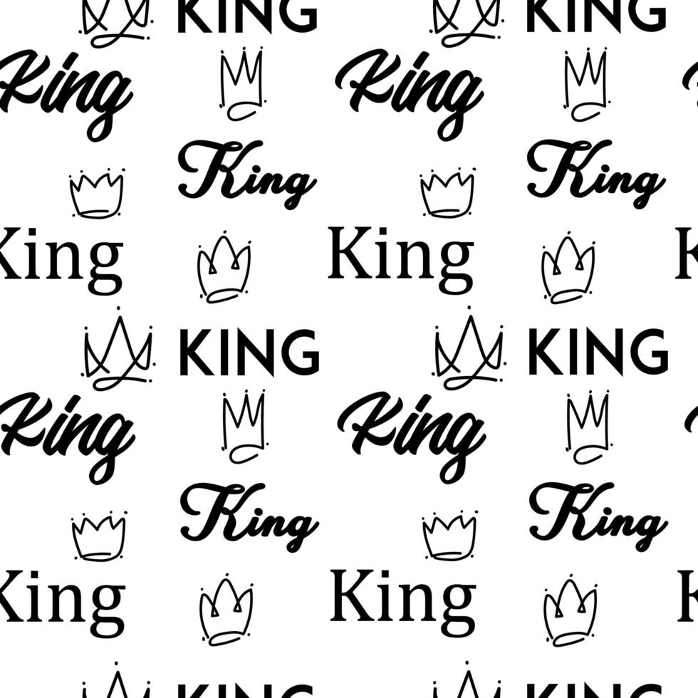 King doodle text seamless pattern vector