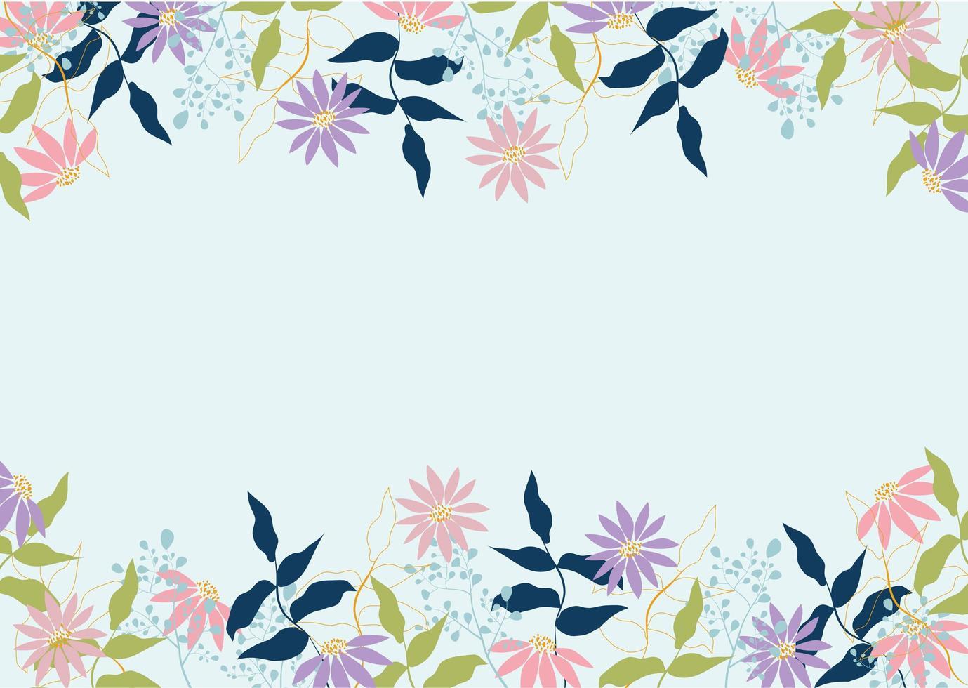 lindo quadro floral pastel vetor