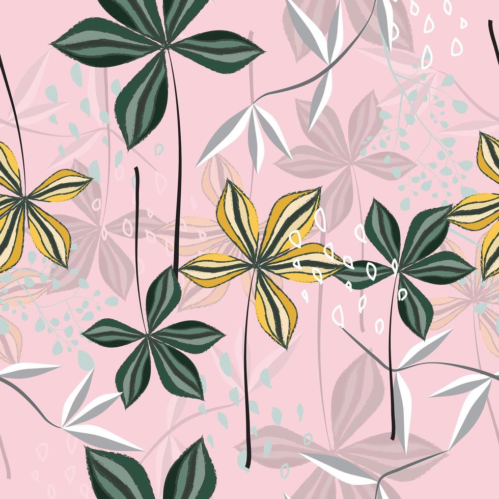 Abstract floral pattern on pink vector