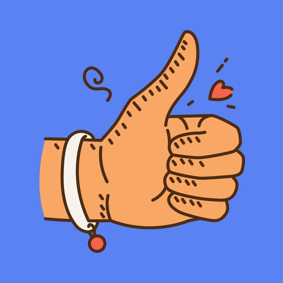 ilustração de polegares para cima vetor