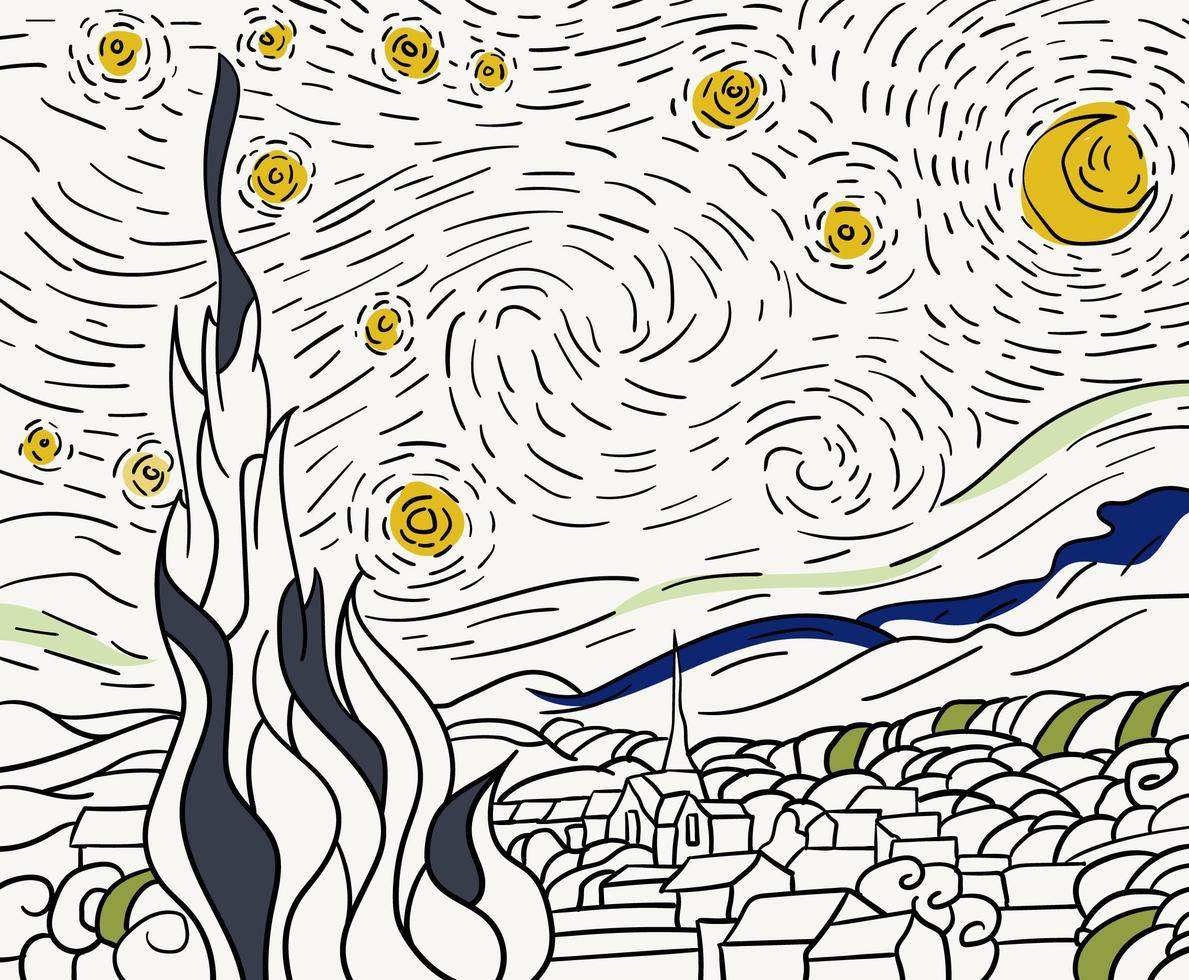 The Starry Night 1889 by Vincent van Gogh adult coloring page vector