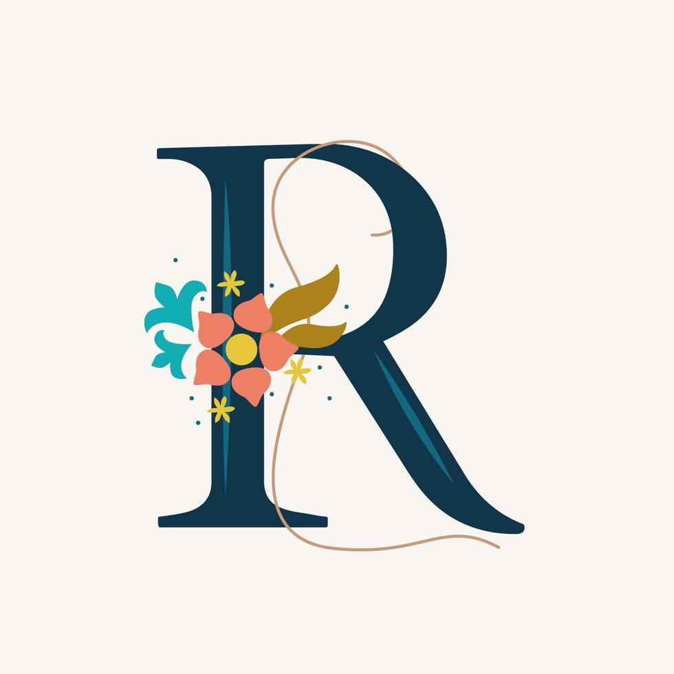 tipografia floral letra r vetor