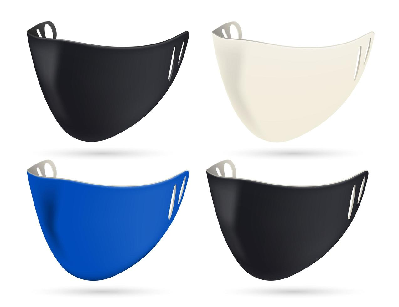 conjunto de mascarillas protectoras negro, blanco y azul vector
