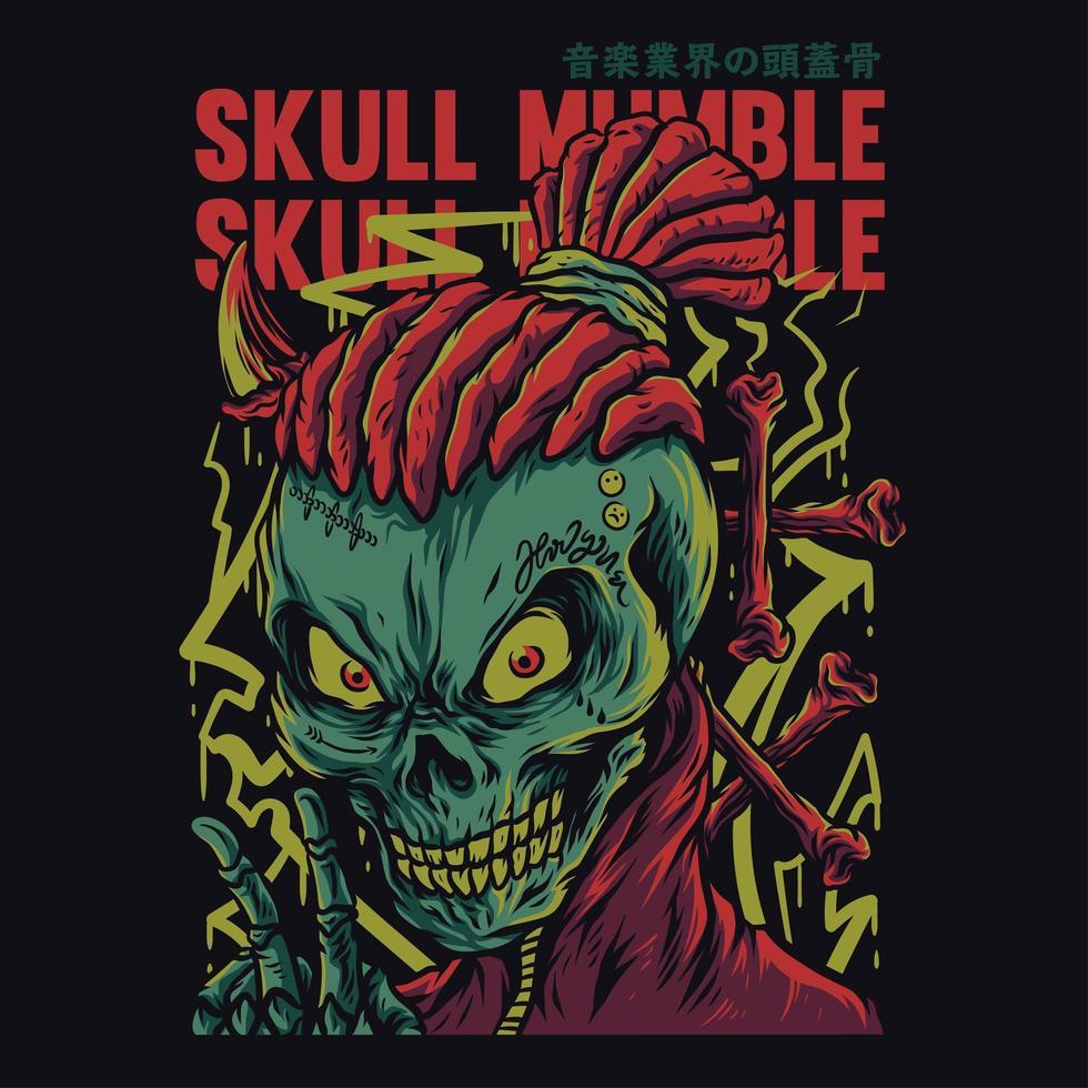 Mumble Skull with Dreadlock Hair vector