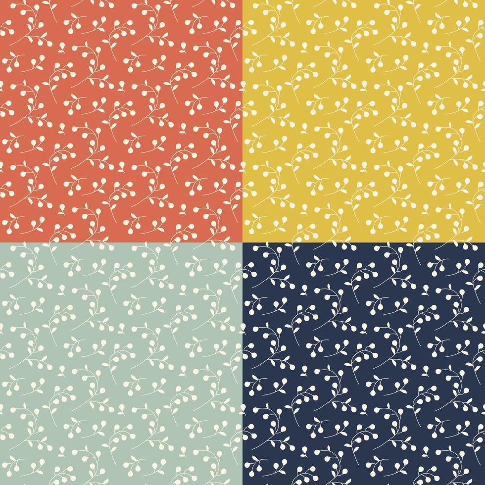 Seamless foliage pattern set vector