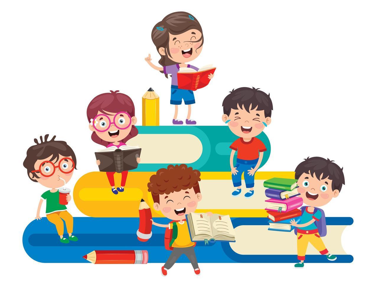 crianças em idade escolar estudando na pilha de grandes livros vetor