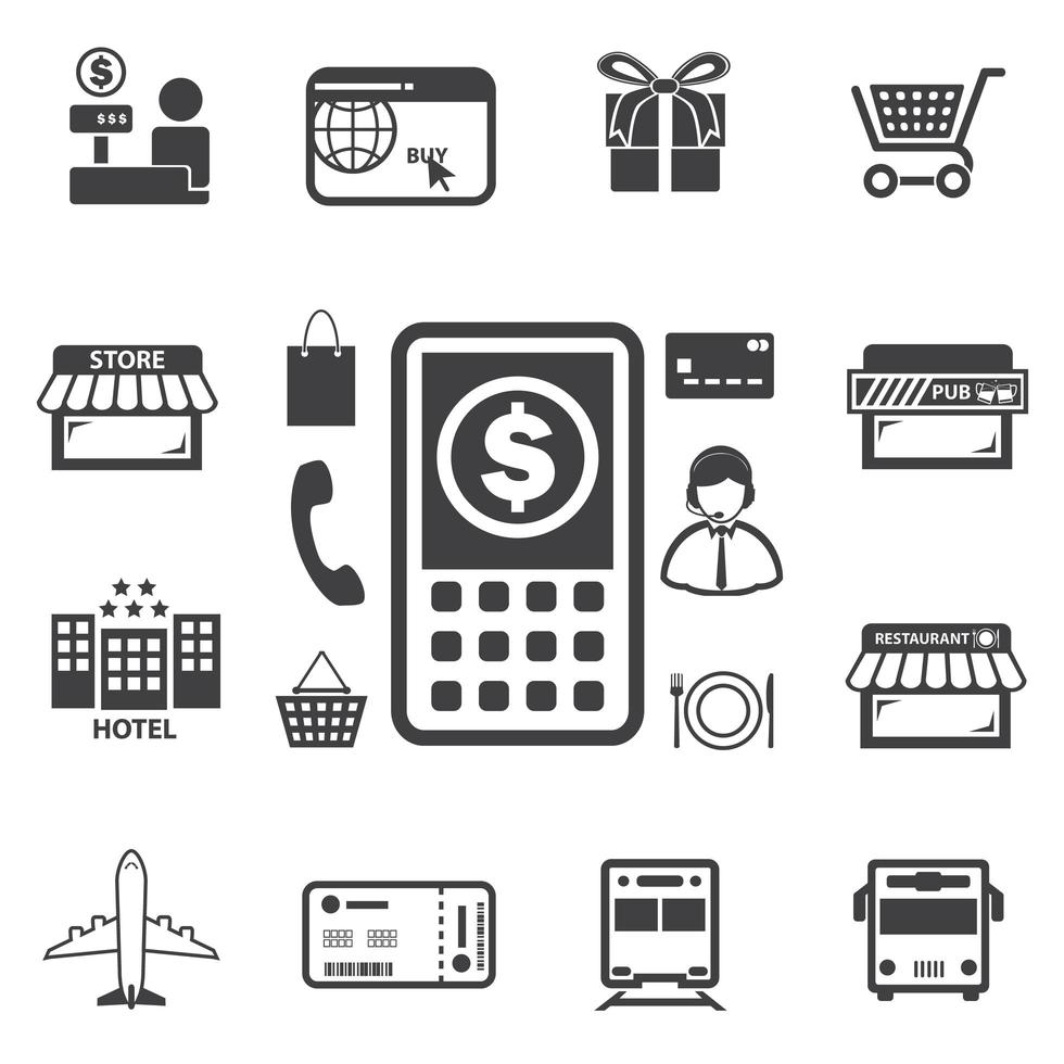 Smart money and mobile banking icons set vector