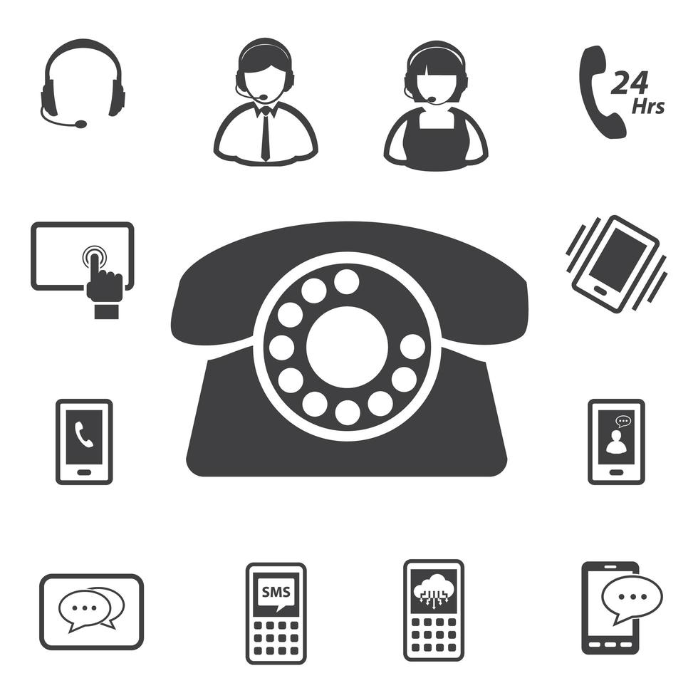 Call center and customer service icons vector
