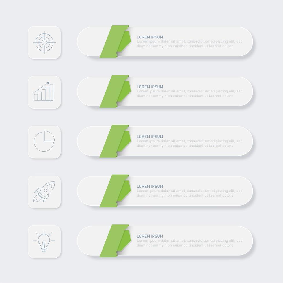 elementos de infográfico de negócios de 5 etapas verde e branco vetor