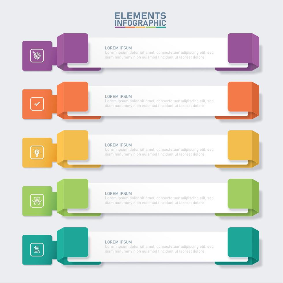 Colorful banner infographic elements template vector