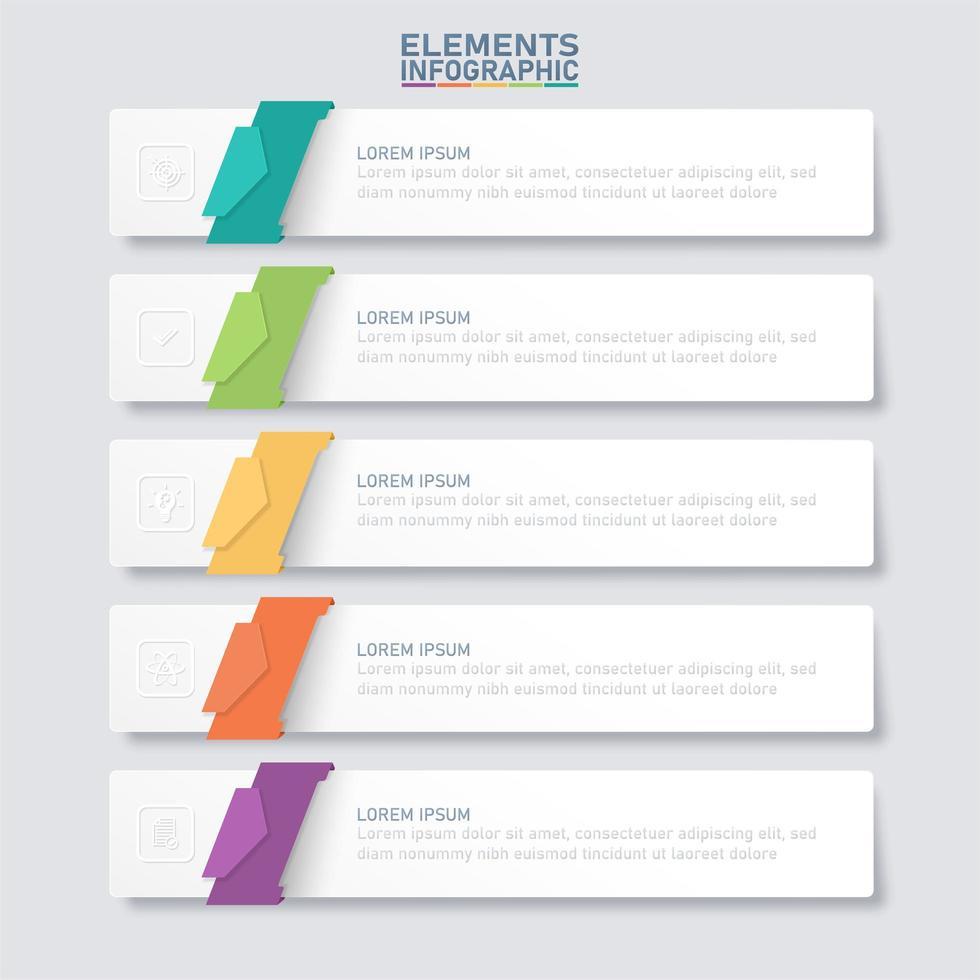 modelo de elementos infográfico com papel 3d colorido vetor