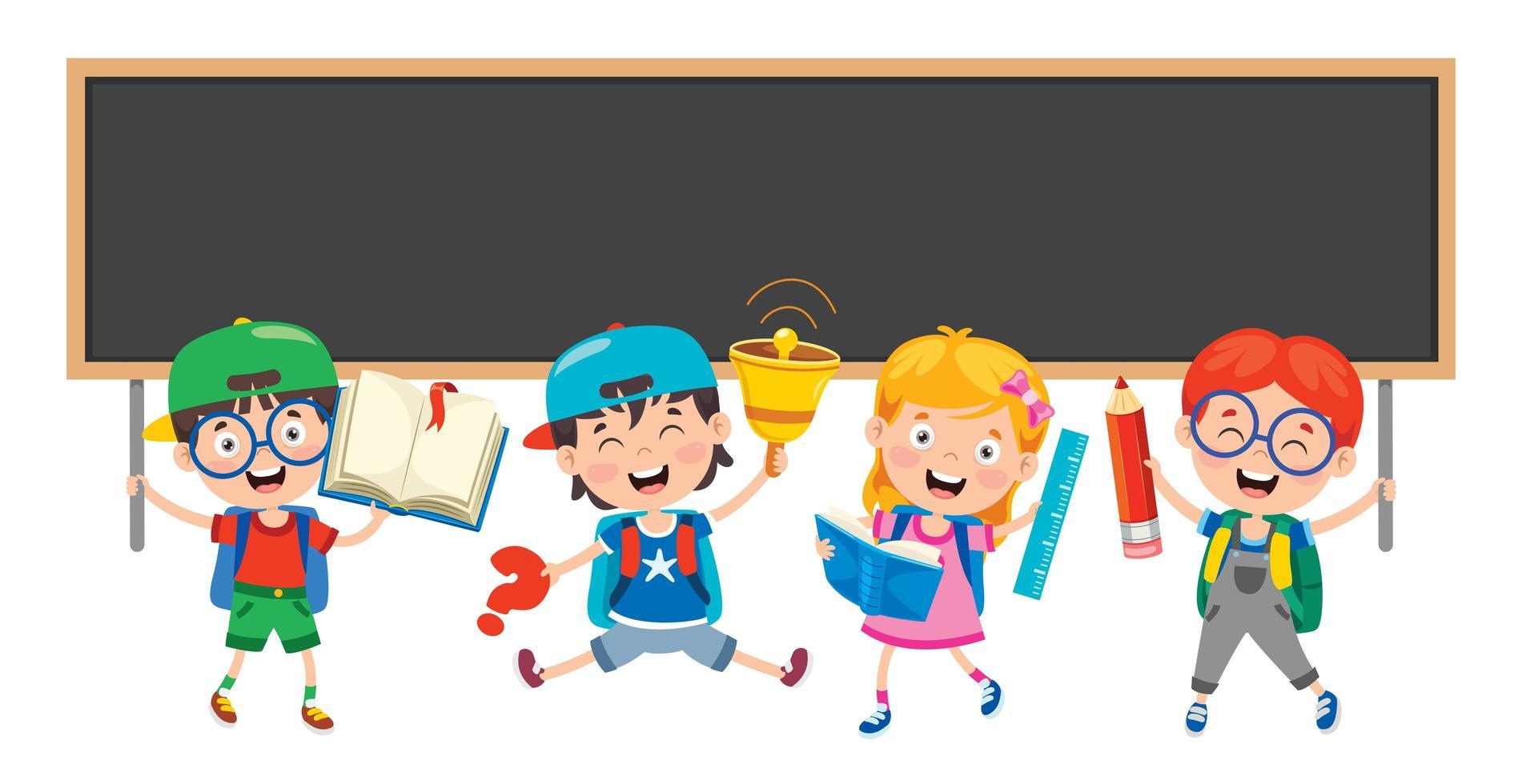 crianças em idade escolar felizes e quadro-negro vetor