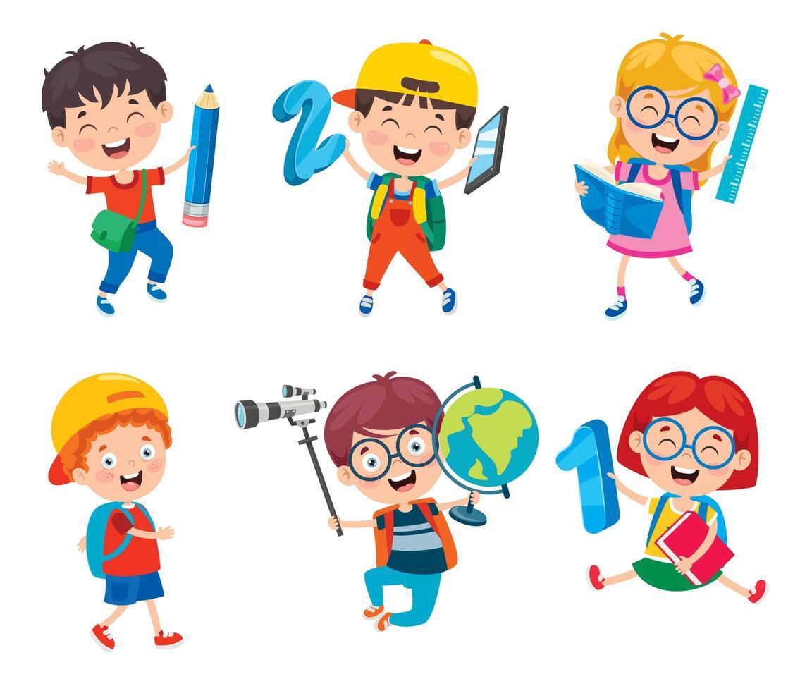 niños felices de la escuela con artículos escolares vector