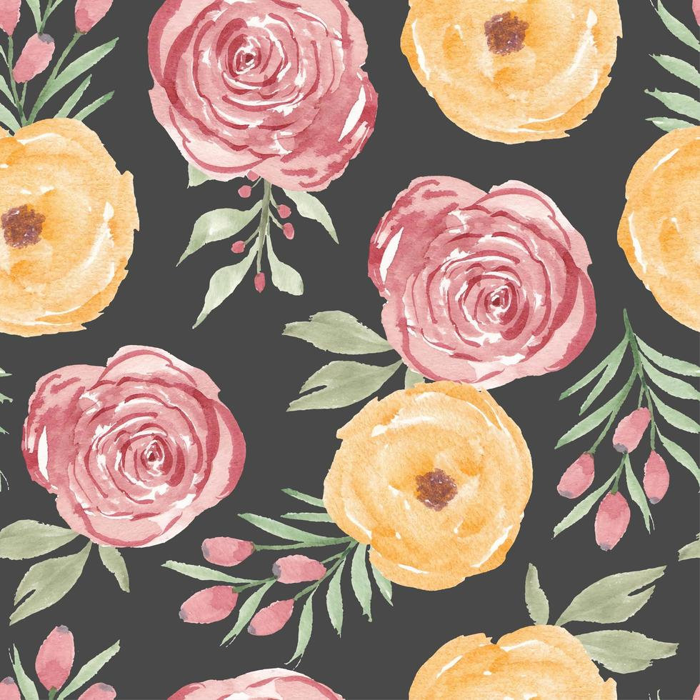 Watercolor yellow pink rose flower seamless pattern vector