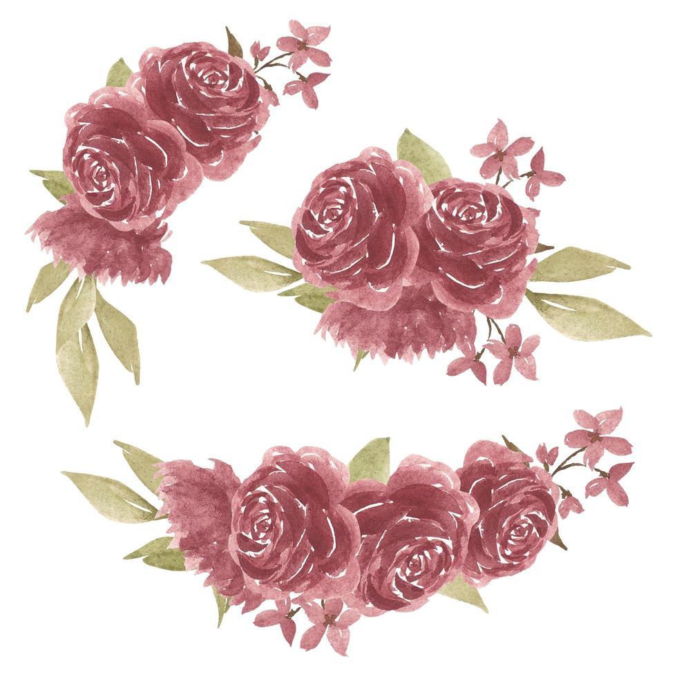 Set of watercolor rose flower arrangements vector
